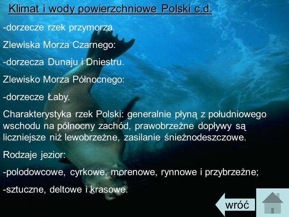 Klimat i wody powierzchniowe Polski c.d. -dorzecze rzek przymorza. Zlewiska Morza Czarnego: -dorzecza Dunaju i Dniestru. Zlewisko Morza Północnego: -d