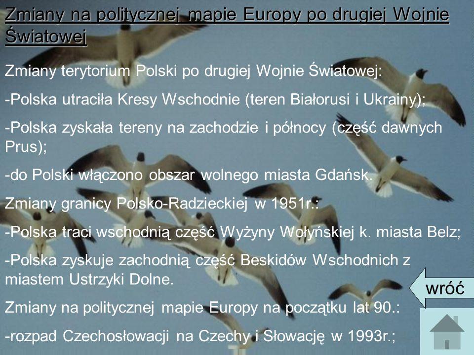 Zmiany na politycznej mapie Europy po drugiej Wojnie Światowej Zmiany terytorium Polski po drugiej Wojnie Światowej: -Polska utraciła Kresy Wschodnie (teren Białorusi i Ukrainy); -Polska zyskała tereny na zachodzie i północy (część dawnych Prus); -do Polski włączono obszar wolnego miasta Gdańsk.
