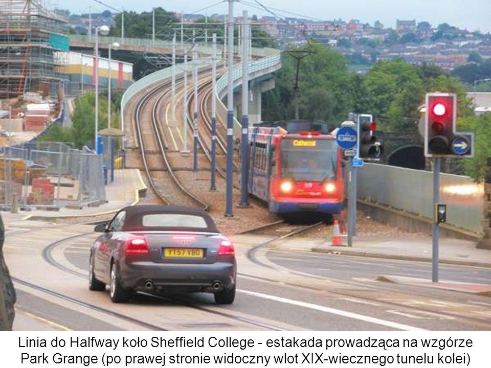 Linia do Halfway koło Sheffield College - estakada prowadząca na wzgórze Park Grange (po prawej stronie widoczny wlot XIX-wiecznego tunelu kolei)