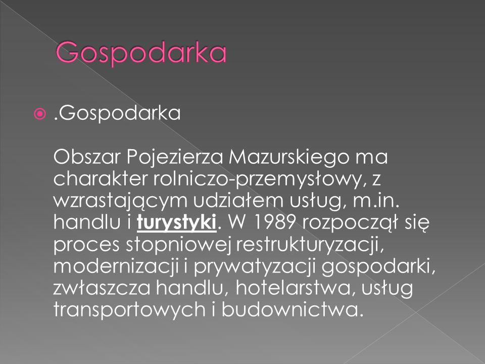 .Gospodarka Obszar Pojezierza Mazurskiego ma charakter rolniczo-przemysłowy, z wzrastającym udziałem usług, m.in. handlu i turystyki. W 1989 rozpoczął