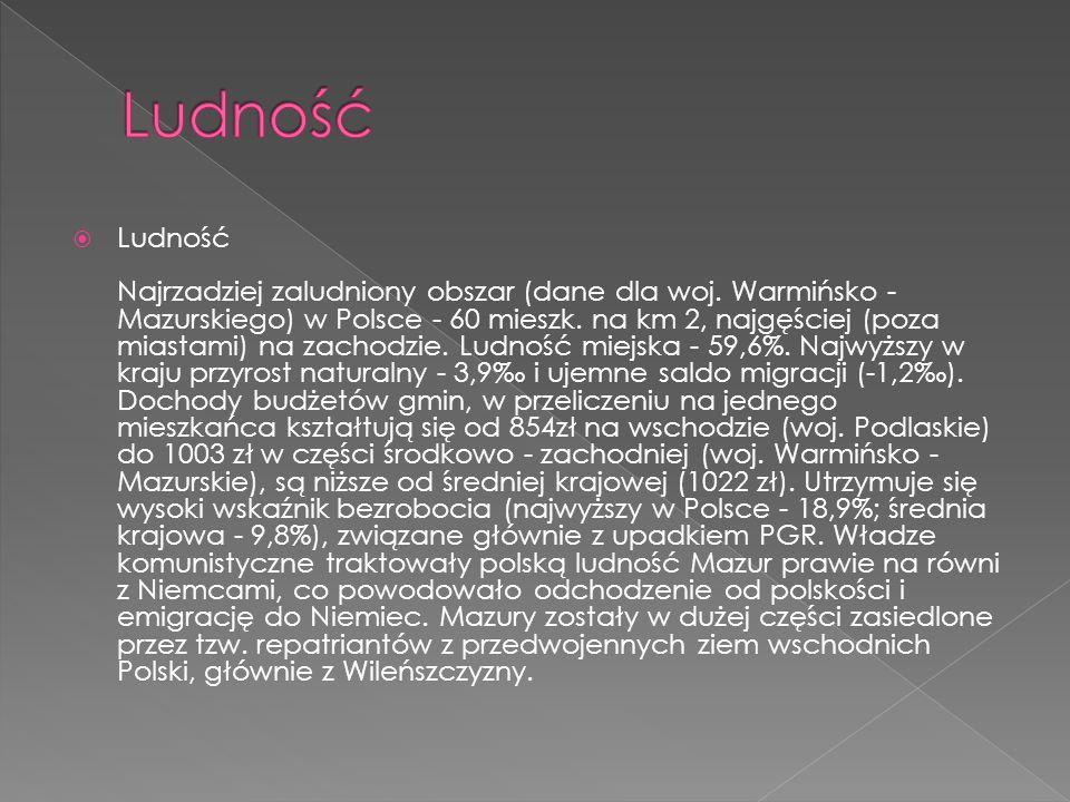 Ludność Najrzadziej zaludniony obszar (dane dla woj. Warmińsko - Mazurskiego) w Polsce - 60 mieszk. na km 2, najgęściej (poza miastami) na zachodzie.