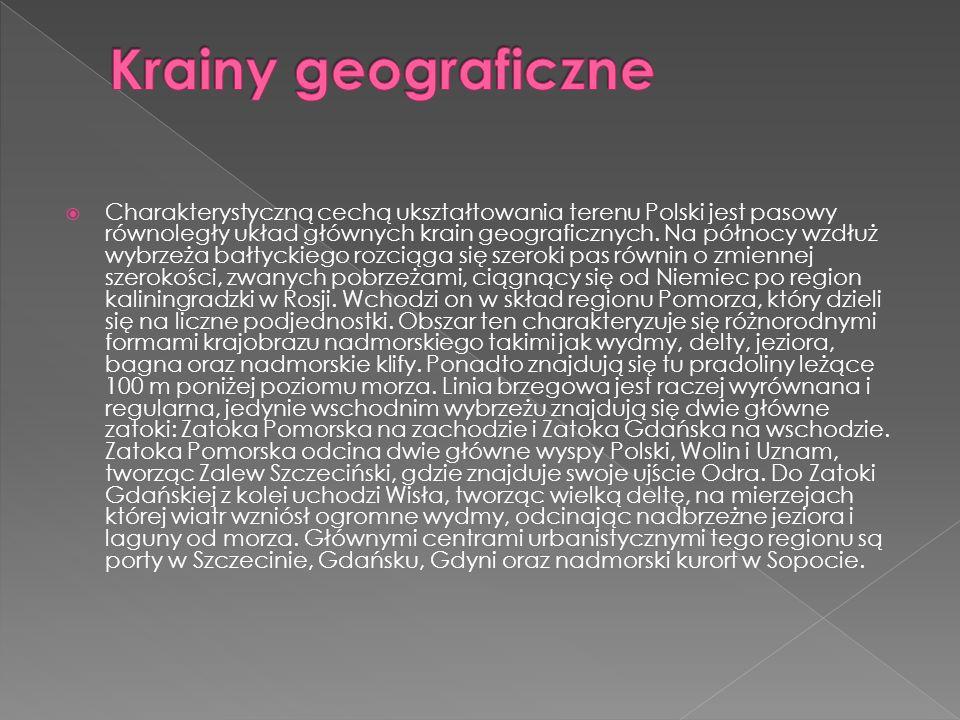Charakterystyczną cechą ukształtowania terenu Polski jest pasowy równoległy układ głównych krain geograficznych. Na północy wzdłuż wybrzeża bałtyckieg