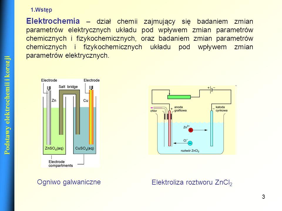 14 Elektrody Red-ox Fe 3+ / Fe 2+, Ce 4+ / Ce 3+ Pt | Fe 3+, Fe 2+, Cl - Elektrody tlenkowe Elektroda antymonowa Sb(s)| Sb 2 O 3 (s)| H + Sb 2 O 3 + 6H + + 6e 2Sb + 3H 2 O Podstawy elektrochemii i korozji - potencjał formalny (43) (44) (42)