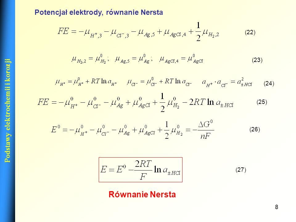 9 Podstawy elektrochemii i korozji Elektrody Normalna elektroda wodorowa (NEW) – wykonana z platyny pokrytej czernią platynową, omywaną gazowym wodorem pod ciśnieniem cząstkowym p = 101325 Pa = 1013,25 hPa = 1 atm w temperaturze 273,15 K, zanurzona w roztworze o aktywności jonów wodorowych równej 1.