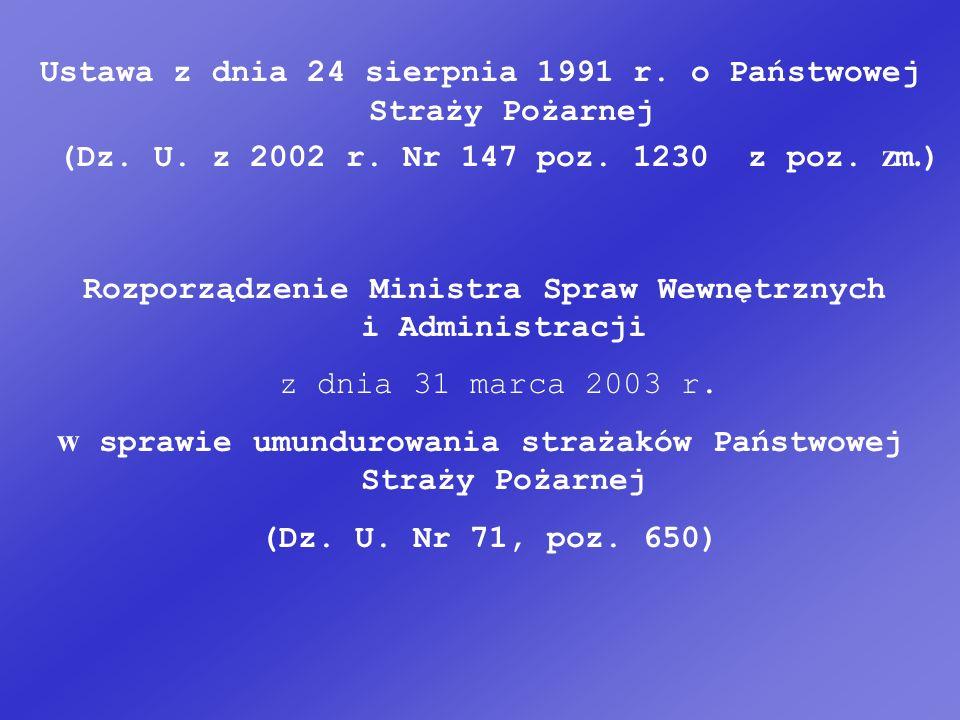 Ustawa z dnia 24 sierpnia 1991 r.o Państwowej Straży Pożarnej (Dz.