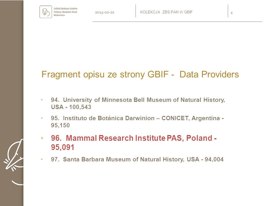 Fragment opisu ze strony GBIF - Data Providers 94. University of Minnesota Bell Museum of Natural History, USA - 100,543 95. Instituto de Botánica Dar