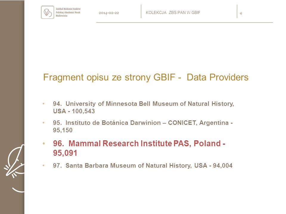 Zawartość udostępnionej kolekcji W części kolekcji włączonej do GBIF znajdują się 164 gatunki ssaków (lista dostępna na stronie www.zbs.bialowieza.pl GBIF Kolekcja Ssaków ZBS) z 29 rodzajów i 11 rzędów.