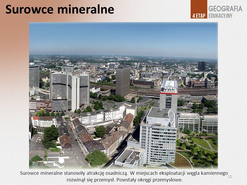 Surowce mineralne Surowce mineralne stanowiły atrakcję osadniczą. W miejscach eksploatacji węgla kamiennego rozwinął się przemysł. Powstały okręgi prz