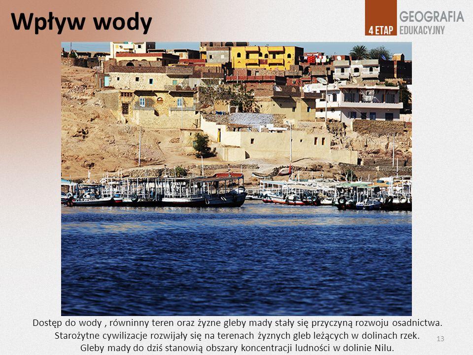 Wpływ wody Dostęp do wody, równinny teren oraz żyzne gleby mady stały się przyczyną rozwoju osadnictwa. Starożytne cywilizacje rozwijały się na terena