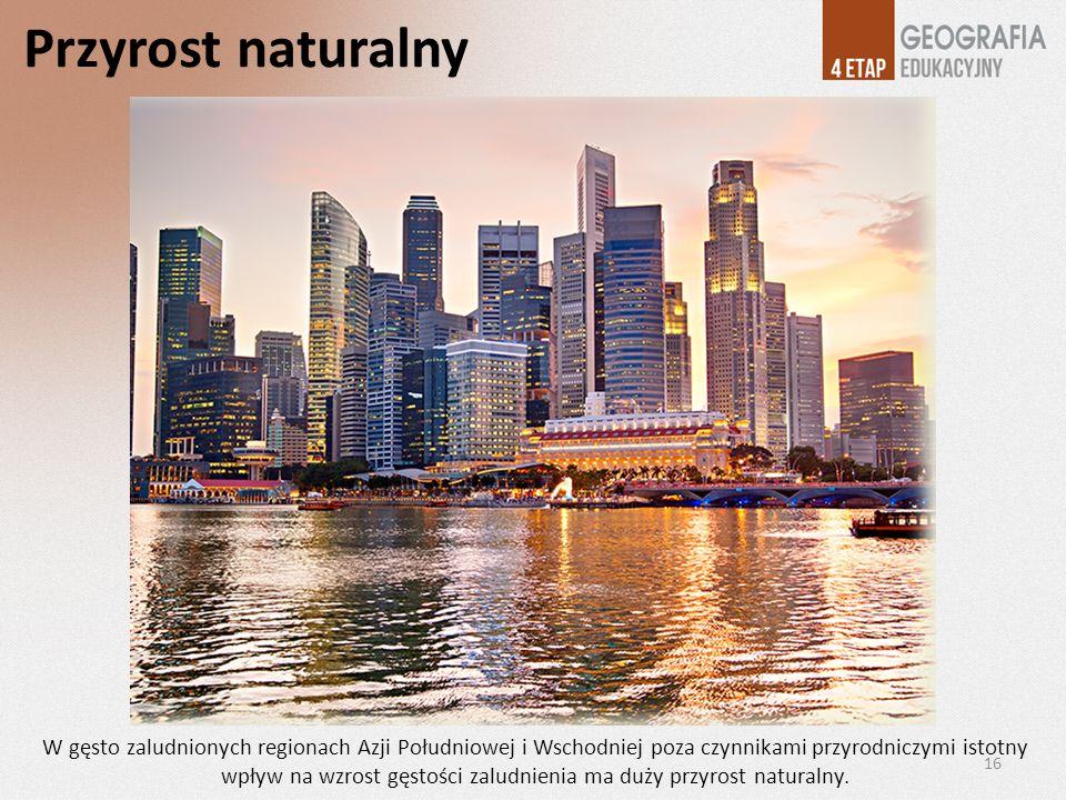 Przyrost naturalny W gęsto zaludnionych regionach Azji Południowej i Wschodniej poza czynnikami przyrodniczymi istotny wpływ na wzrost gęstości zaludn