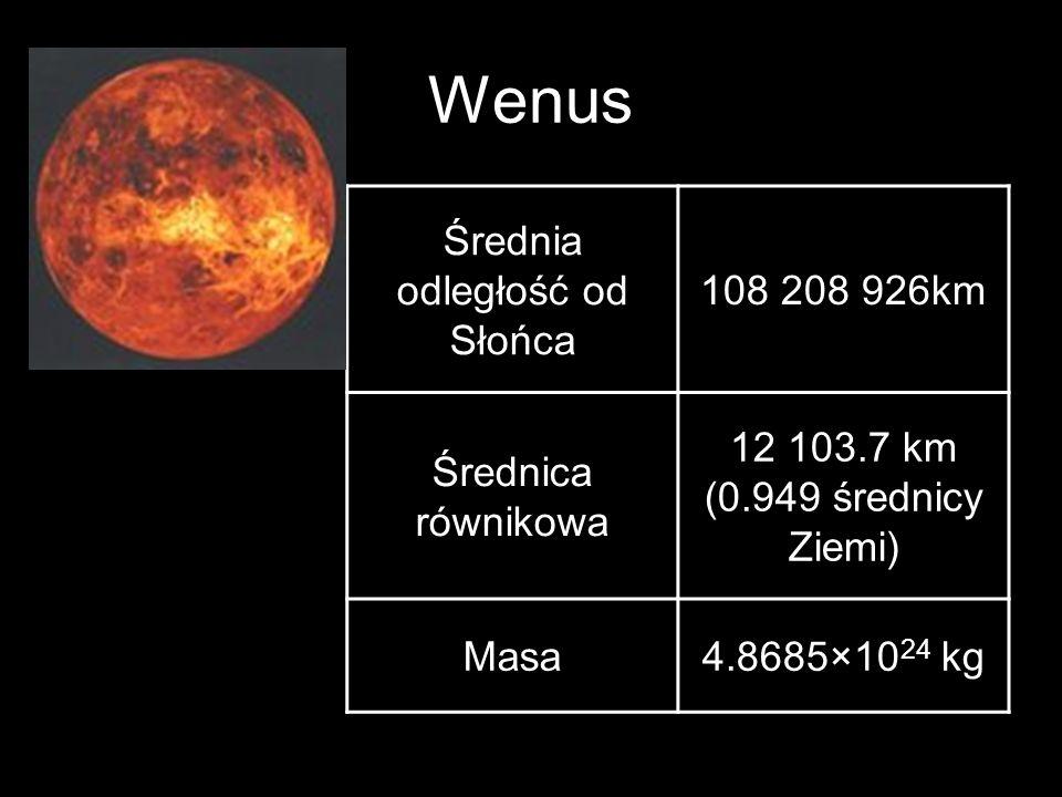 Wenus Średnia odległość od Słońca 108 208 926km Średnica równikowa 12 103.7 km (0.949 średnicy Ziemi) Masa4.8685×10 24 kg