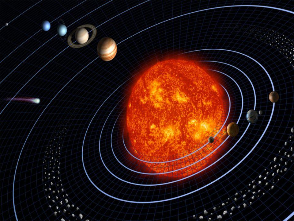 Jowisz Średnia odległość od Słońca 778 412 020 km Średnica równikowa 142 984 km (11.2089 średnicy Ziemi) Średnica biegunowa 133 709 km (10.517 średnicy Ziemi) Masa 18 987×10 23 kg (317.843212 masy Ziemi)