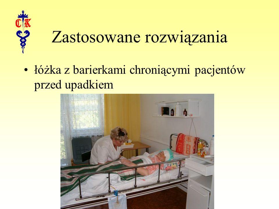 Zastosowane rozwiązania łóżka z barierkami chroniącymi pacjentów przed upadkiem