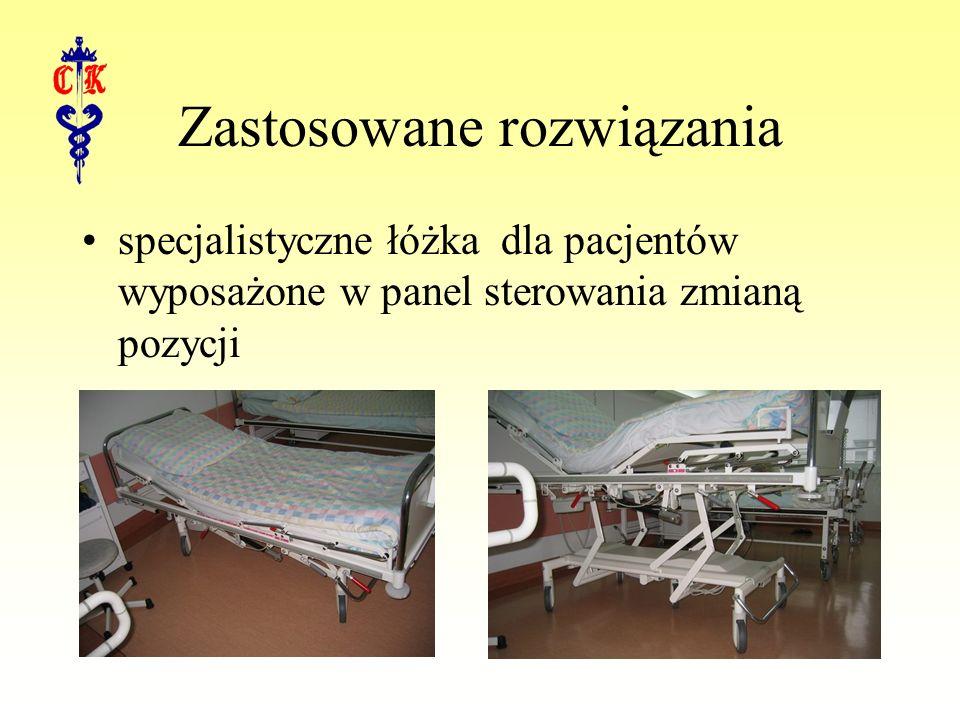 Zastosowane rozwiązania specjalistyczne łóżka dla pacjentów wyposażone w panel sterowania zmianą pozycji