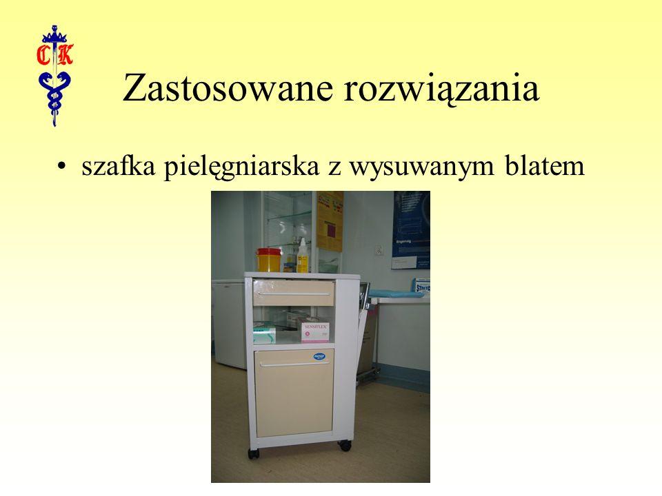 Zastosowane rozwiązania szafka pielęgniarska z wysuwanym blatem