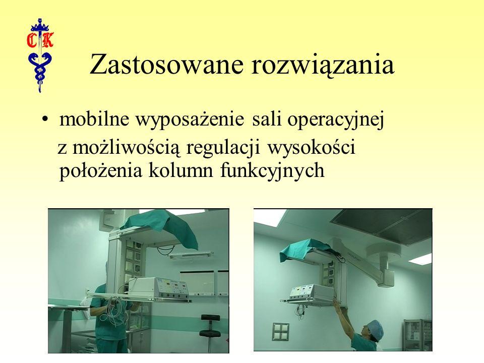 mobilne wyposażenie sali operacyjnej z możliwością regulacji wysokości położenia kolumn funkcyjnych