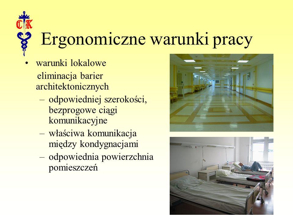 Ergonomiczne warunki pracy warunki lokalowe eliminacja barier architektonicznych –odpowiedniej szerokości, bezprogowe ciągi komunikacyjne –właściwa komunikacja między kondygnacjami –odpowiednia powierzchnia pomieszczeń