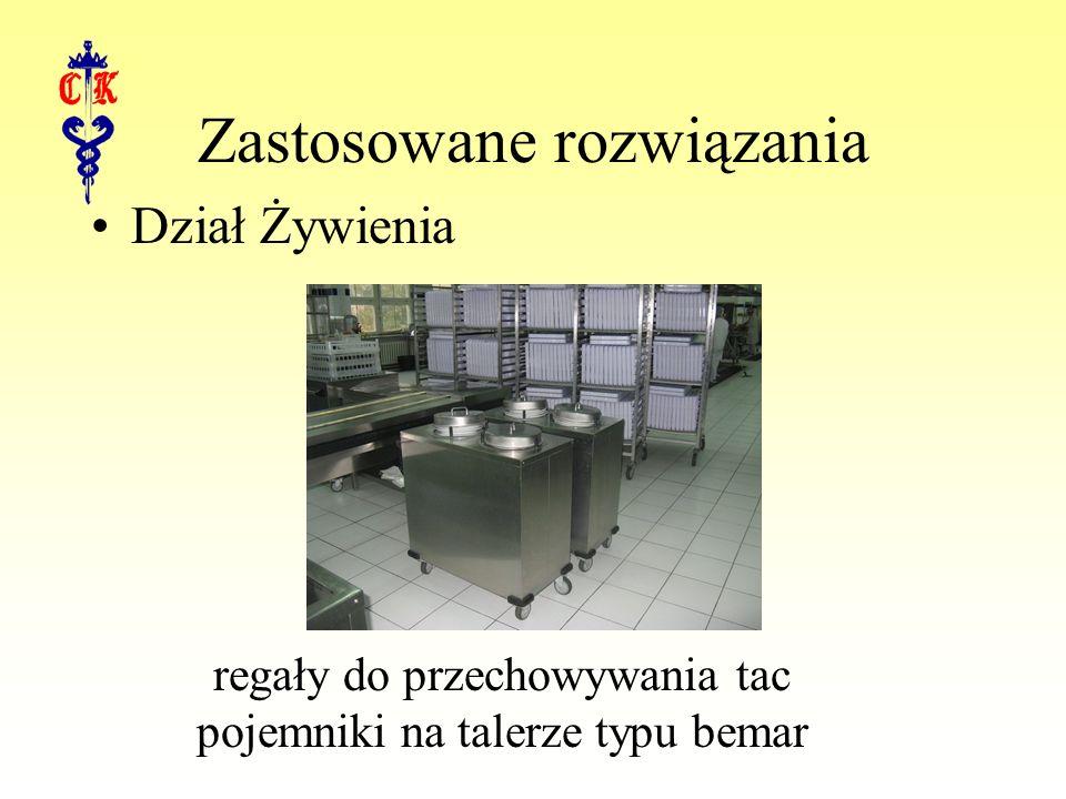 Dział Żywienia Zastosowane rozwiązania regały do przechowywania tac pojemniki na talerze typu bemar