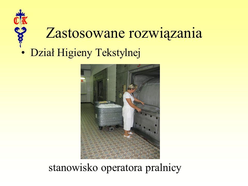 Zastosowane rozwiązania Dział Higieny Tekstylnej stanowisko operatora pralnicy