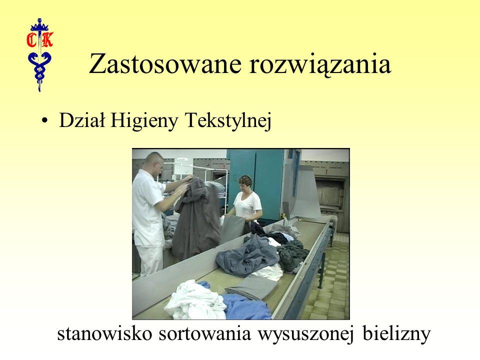 Zastosowane rozwiązania Dział Higieny Tekstylnej stanowisko sortowania wysuszonej bielizny