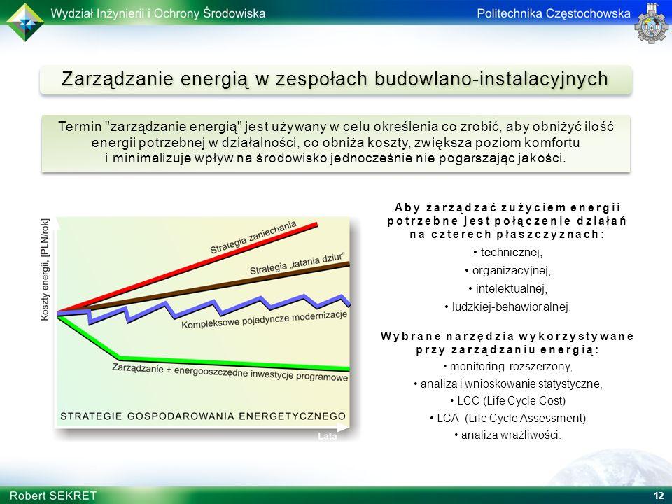 12 Zarządzanie energią w zespołach budowlano-instalacyjnych Aby zarządzać zużyciem energii potrzebne jest połączenie działań na czterech płaszczyznach