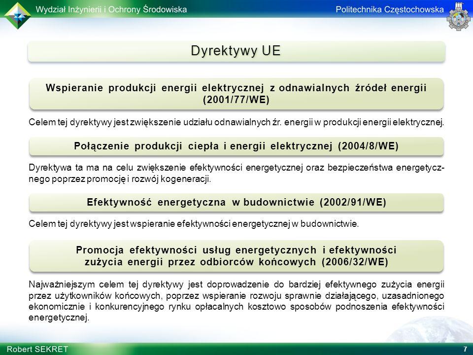 7 Dyrektywy UE Celem tej dyrektywy jest zwiększenie udziału odnawialnych źr. energii w produkcji energii elektrycznej. Dyrektywa ta ma na celu zwiększ