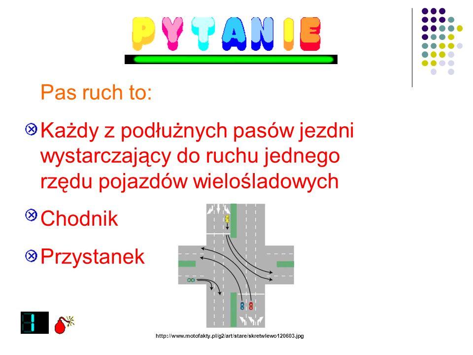 Chodnik to: Część ulicy przeznaczona dla rowerzystów Uliczka usypana ze żwiru Część drogi przeznaczona do ruchu pieszych http://www.maslow.info.pl/akt