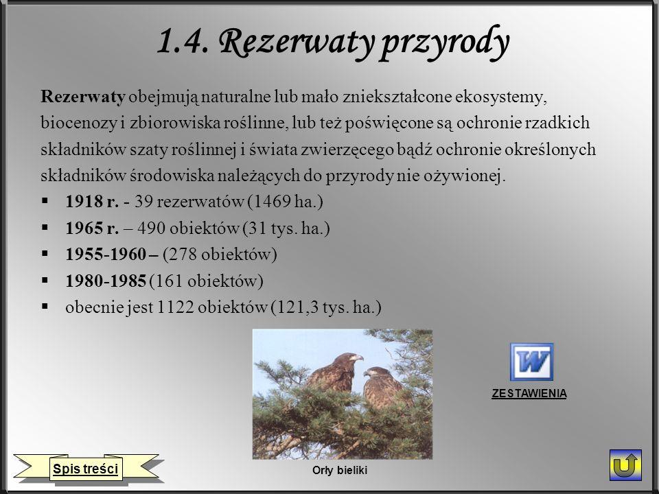 1.4. Rezerwaty przyrody Rezerwaty obejmują naturalne lub mało zniekształcone ekosystemy, biocenozy i zbiorowiska roślinne, lub też poświęcone są ochro