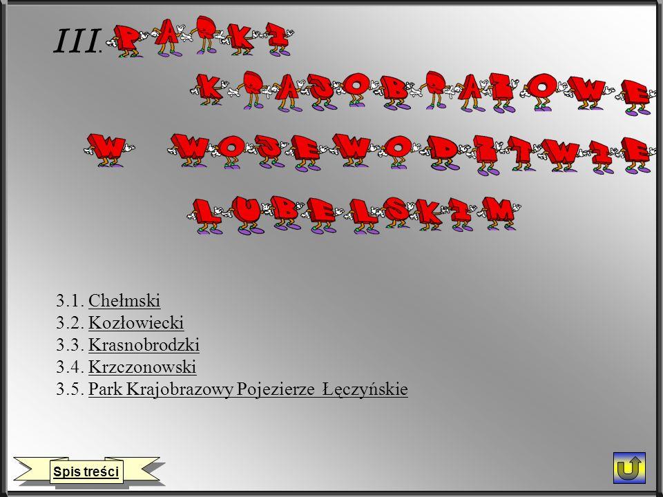 III. 3.1. ChełmskiChełmski 3.2. KozłowieckiKozłowiecki 3.3. KrasnobrodzkiKrasnobrodzki 3.4. KrzczonowskiKrzczonowski 3.5. Park Krajobrazowy Pojezierze