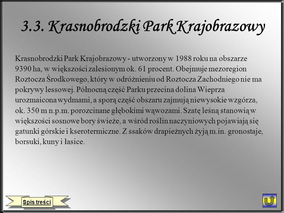 3.3. Krasnobrodzki Park Krajobrazowy Krasnobrodzki Park Krajobrazowy - utworzony w 1988 roku na obszarze 9390 ha, w większości zalesionym ok. 61 proce