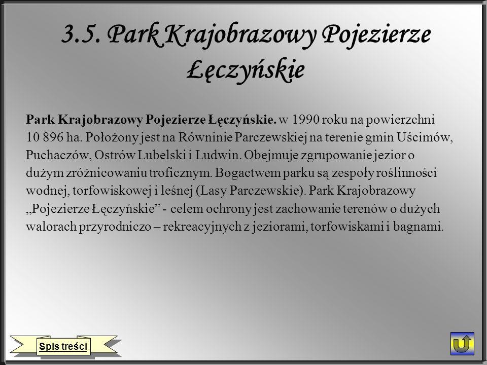 3.5. Park Krajobrazowy Pojezierze Łęczyńskie Park Krajobrazowy Pojezierze Łęczyńskie. w 1990 roku na powierzchni 10 896 ha. Położony jest na Równinie