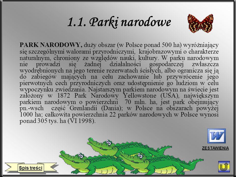 1.1. Parki narodowe PARK NARODOWY, duży obszar (w Polsce ponad 500 ha) wyróżniający się szczególnymi walorami przyrodniczymi, krajobrazowymi o charakt