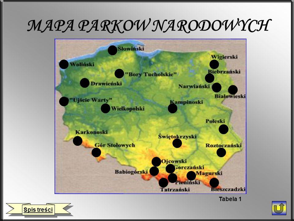 MAPA PARKOW NARODOWYCH Spis treści Tabela 1