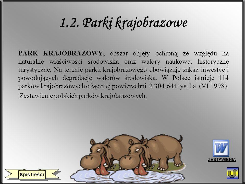 1.2. Parki krajobrazowe PARK KRAJOBRAZOWY, obszar objęty ochroną ze względu na naturalne właściwości środowiska oraz walory naukowe, historyczne turys