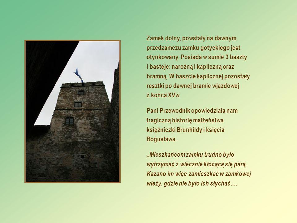 Zamek dolny, powstały na dawnym przedzamczu zamku gotyckiego jest otynkowany. Posiada w sumie 3 baszty i basteje: narożną i kapliczną oraz bramną. W b