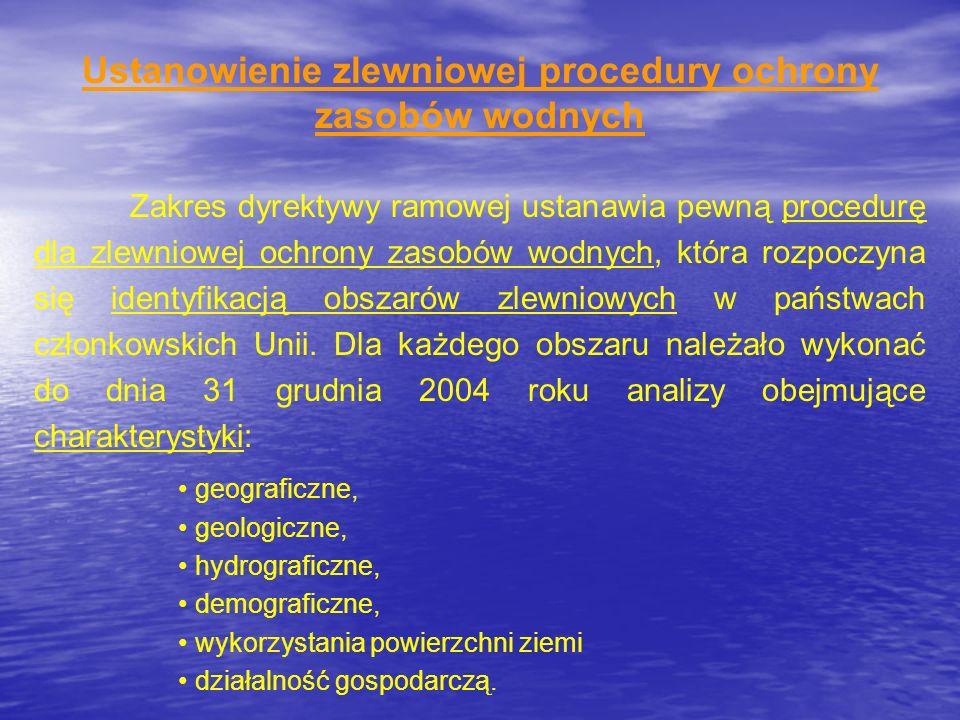Ustanowienie zlewniowej procedury ochrony zasobów wodnych Zakres dyrektywy ramowej ustanawia pewną procedurę dla zlewniowej ochrony zasobów wodnych, k