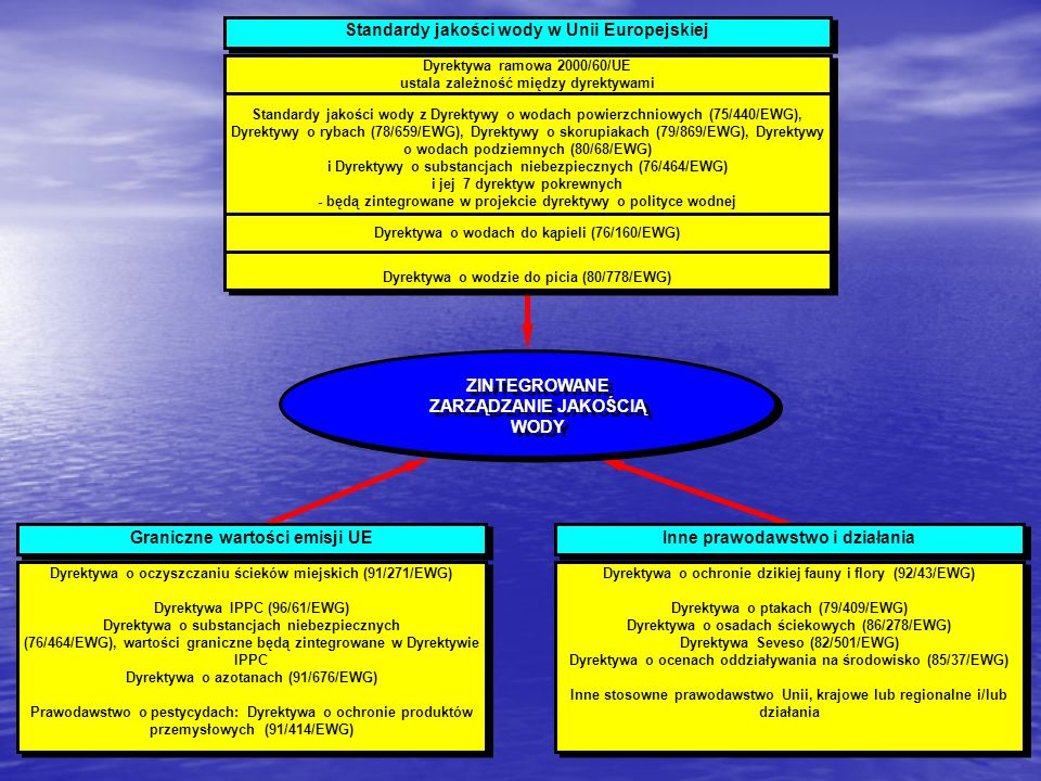 Standardy jakości wody w Unii Europejskiej Dyrektywa ramowa 2000/60/UE ustala zależność między dyrektywami Standardy jakości wody z Dyrektywy o wodach
