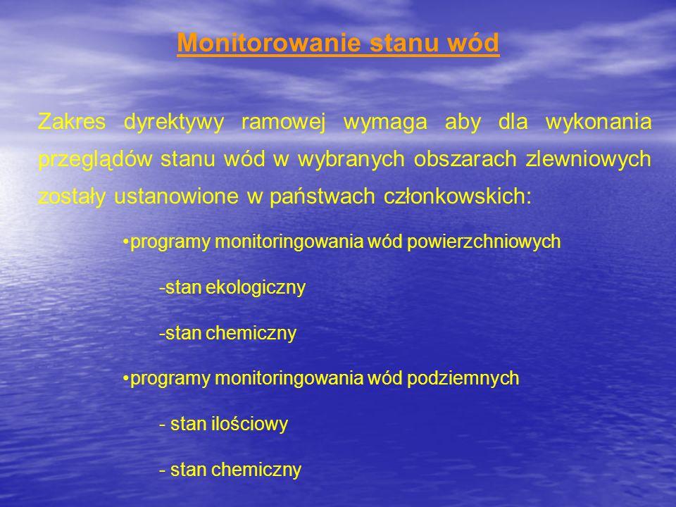 Monitorowanie stanu wód Zakres dyrektywy ramowej wymaga aby dla wykonania przeglądów stanu wód w wybranych obszarach zlewniowych zostały ustanowione w