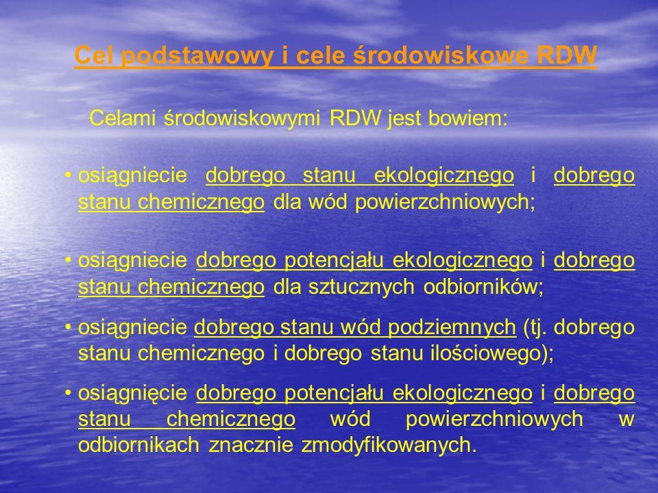 Cel podstawowy i cele środowiskowe RDW Celami środowiskowymi RDW jest bowiem: osiągniecie dobrego stanu ekologicznego i dobrego stanu chemicznego dla