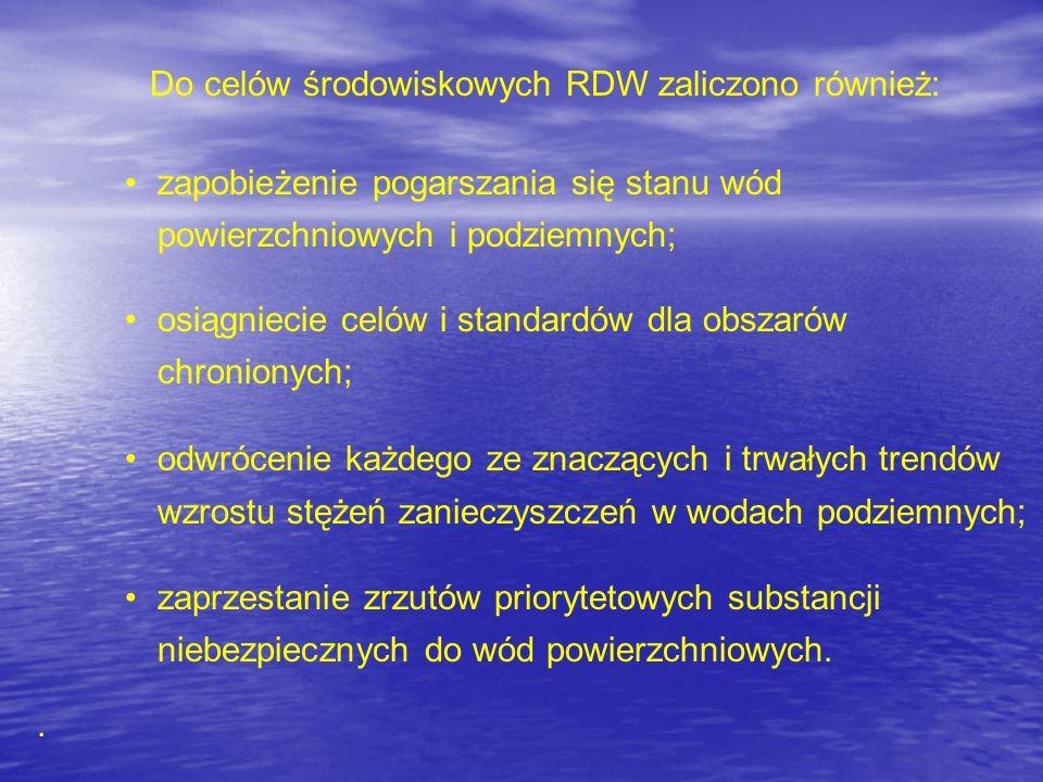 Do celów środowiskowych RDW zaliczono również: zapobieżenie pogarszania się stanu wód powierzchniowych i podziemnych; osiągniecie celów i standardów d