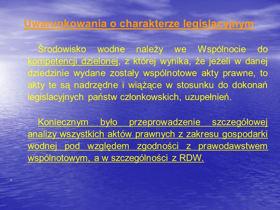 Uwarunkowania o charakterze legislacyjnym Środowisko wodne należy we Wspólnocie do kompetencji dzielonej, z której wynika, że jeżeli w danej dziedzini
