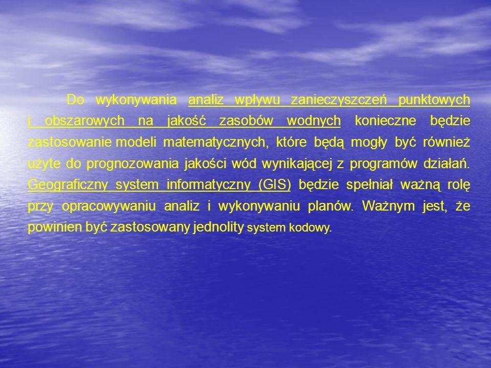 Do wykonywania analiz wpływu zanieczyszczeń punktowych i obszarowych na jakość zasobów wodnych konieczne będzie zastosowaniemodeli matematycznych, któ