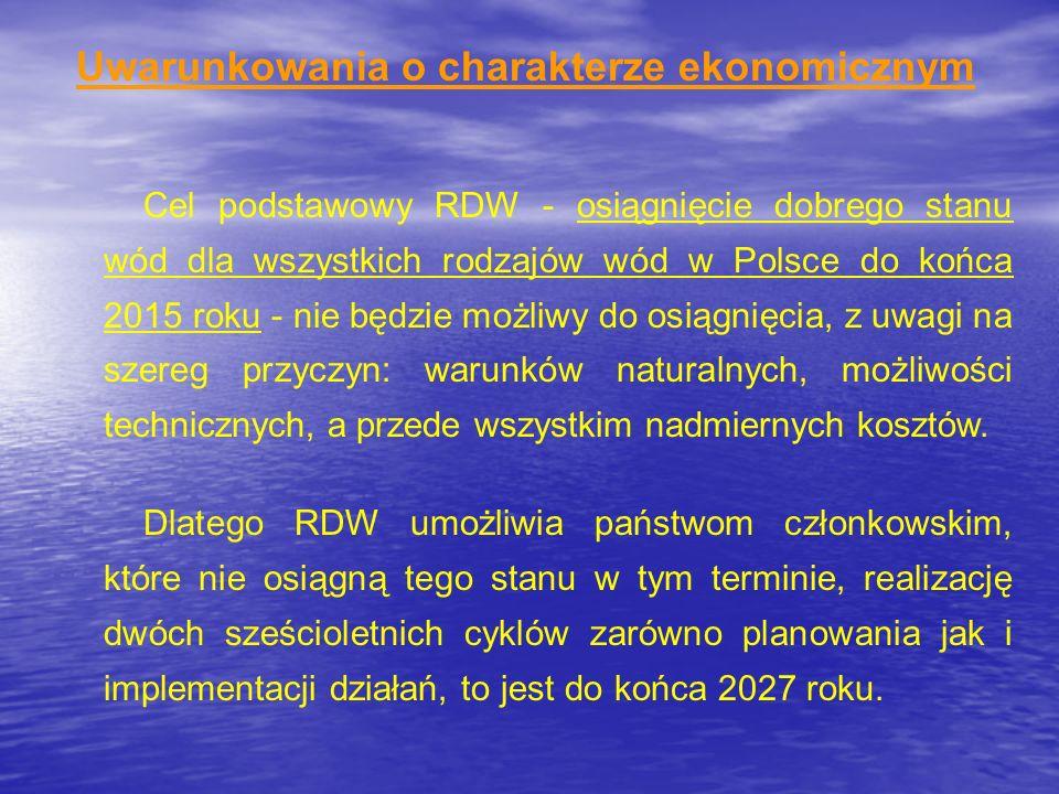 Uwarunkowania o charakterze ekonomicznym Cel podstawowy RDW - osiągnięcie dobrego stanu wód dla wszystkich rodzajów wód w Polsce do końca 2015 roku -