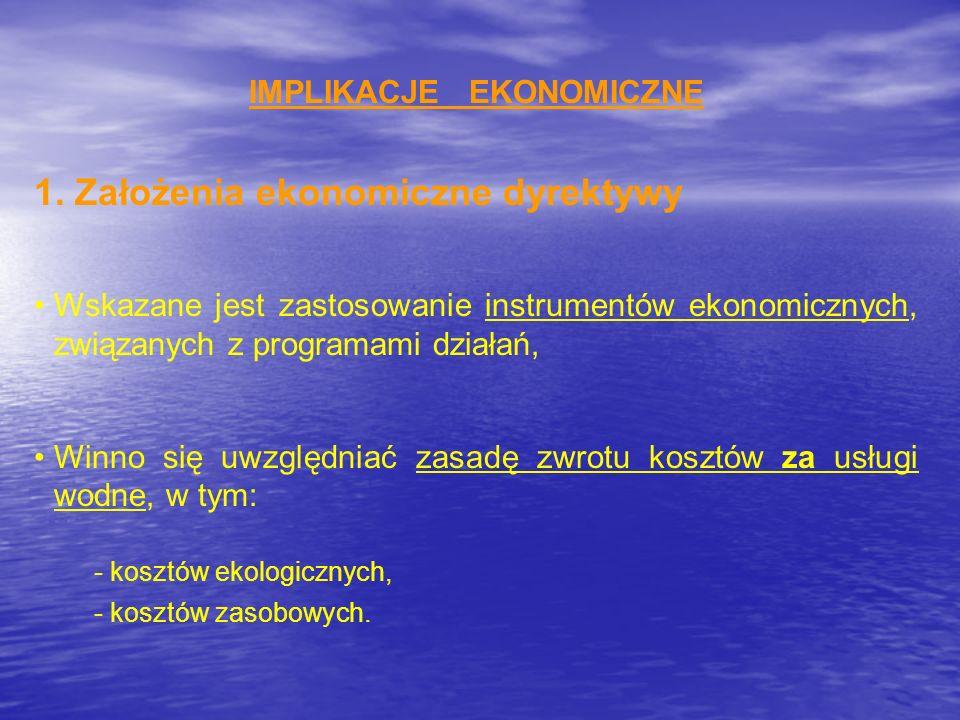 IMPLIKACJE EKONOMICZNE 1. Założenia ekonomiczne dyrektywy Wskazane jest zastosowanie instrumentów ekonomicznych, związanych z programami działań, Winn