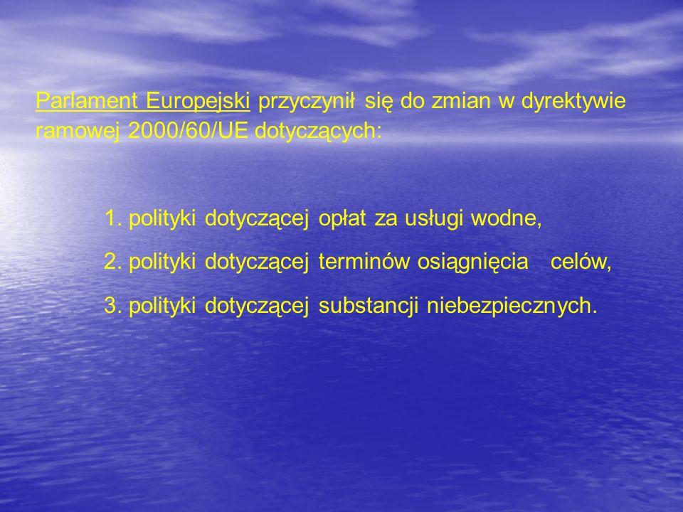Parlament Europejski przyczynił się do zmian w dyrektywie ramowej 2000/60/UE dotyczących: 1. polityki dotyczącej opłat za usługi wodne, 2. polityki do