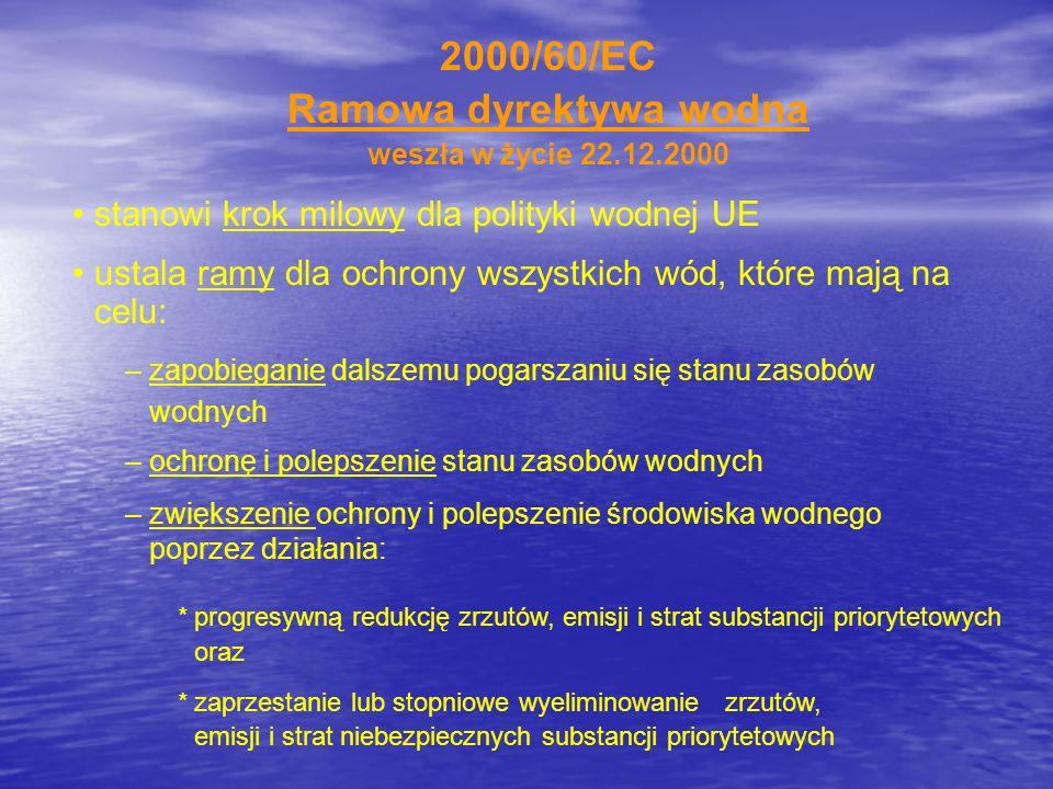 2000/60/EC Ramowa dyrektywa wodna weszła w życie 22.12.2000 stanowi krok milowy dla polityki wodnej UE ustala ramy dla ochrony wszystkich wód, które m