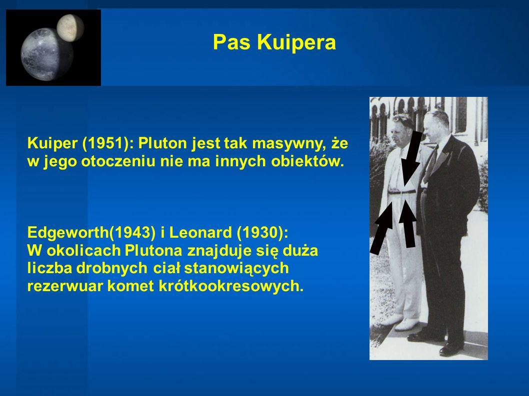 Pas Kuipera Kuiper (1951): Pluton jest tak masywny, że w jego otoczeniu nie ma innych obiektów. Edgeworth(1943) i Leonard (1930): W okolicach Plutona