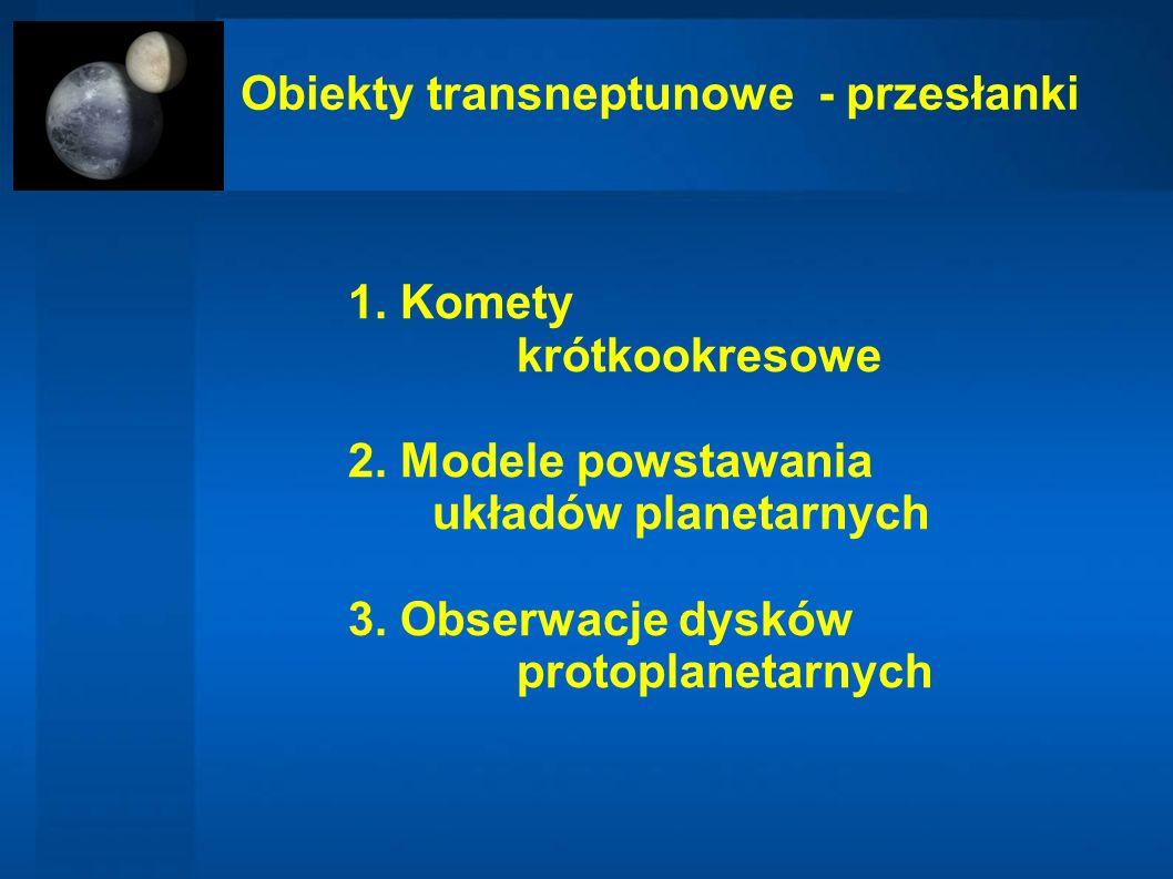 Obiekty transneptunowe - przesłanki 1. Komety krótkookresowe 2. Modele powstawania układów planetarnych 3. Obserwacje dysków protoplanetarnych