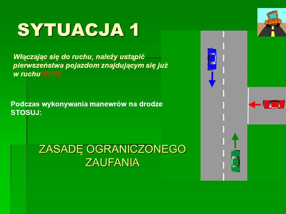 SYTUACJA 1 Włączając się do ruchu, należy ustąpić pierwszeństwa pojazdom znajdującym się już w ruchu!!!!!!!!! Podczas wykonywania manewrów na drodze S