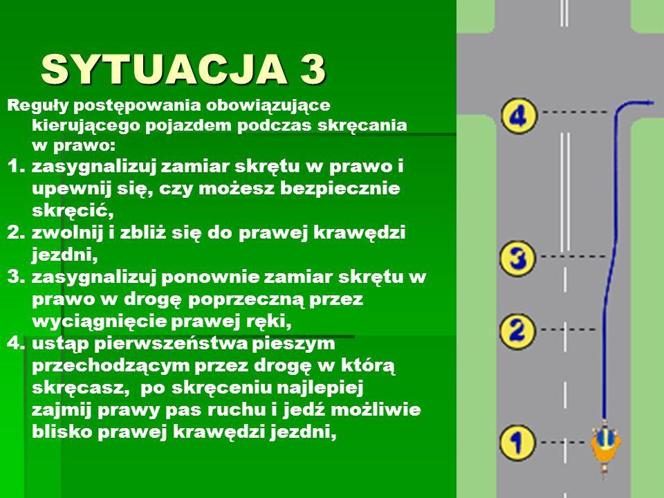SYTUACJA 3 Reguły postępowania obowiązujące kierującego pojazdem podczas skręcania w prawo: 1.zasygnalizuj zamiar skrętu w prawo i upewnij się, czy mo